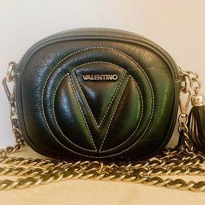 Valentino Nina Black Sauvage Leather Crossbody Bag